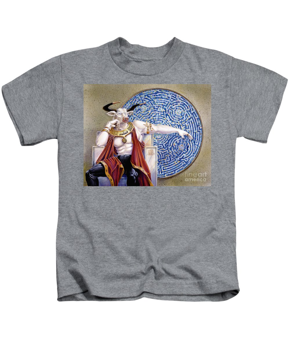 Anthropomorphic Kids T-Shirt featuring the painting Minotaur With Mosaic by Melissa A Benson