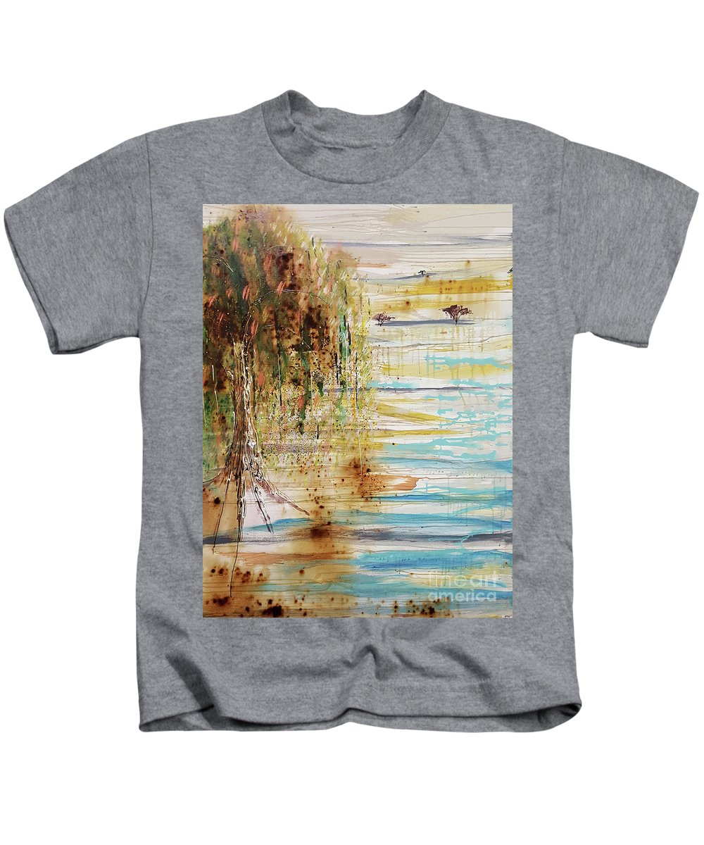Oasis Kids T-Shirt featuring the painting Mirage by Cheryle Gannaway