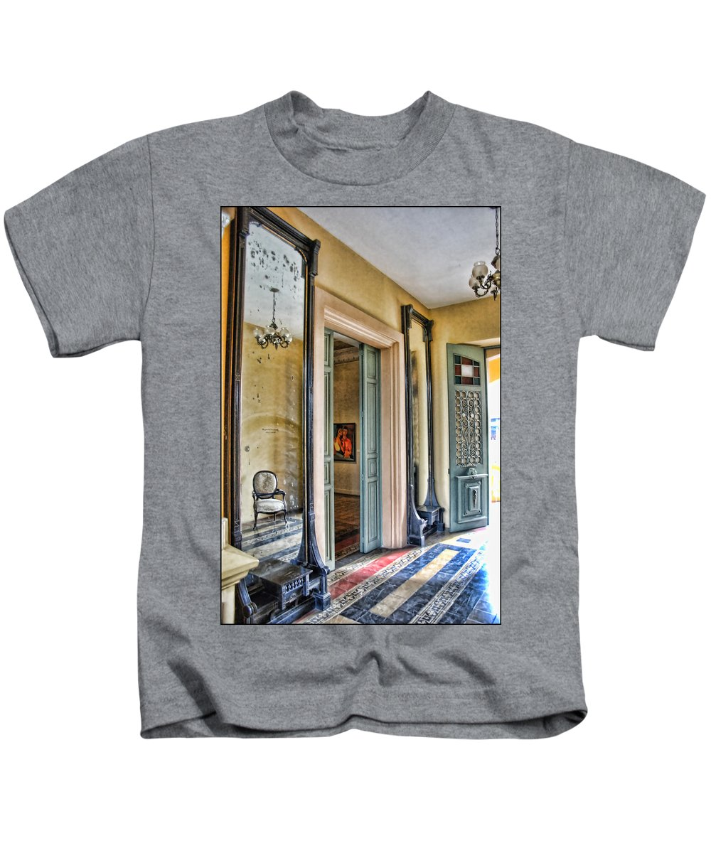 Mirror Kids T-Shirt featuring the photograph mirror in the palace of the Iturriza by Galeria Trompiz