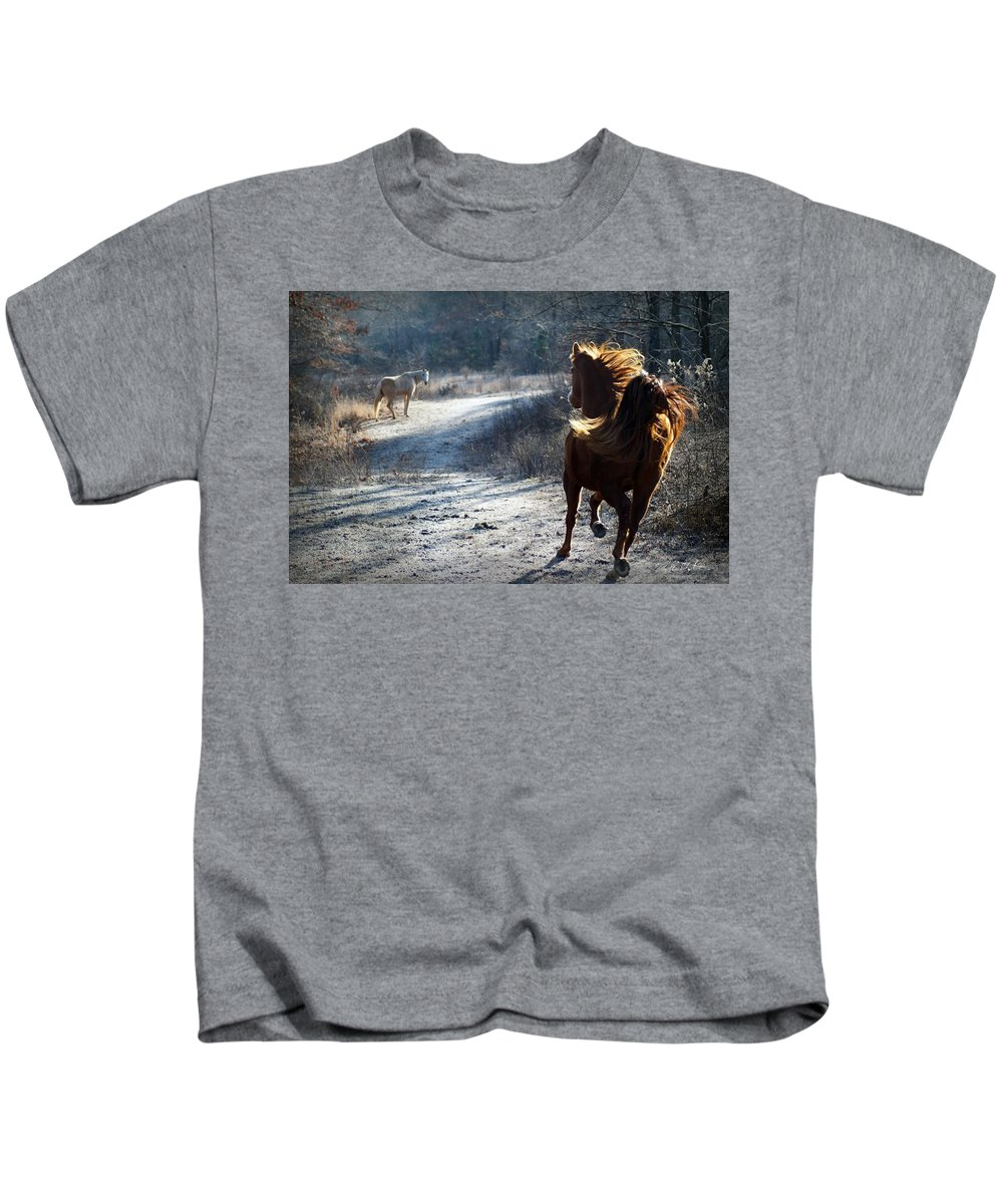 Horses Kids T-Shirt featuring the photograph Missing My Friend by Bill Stephens