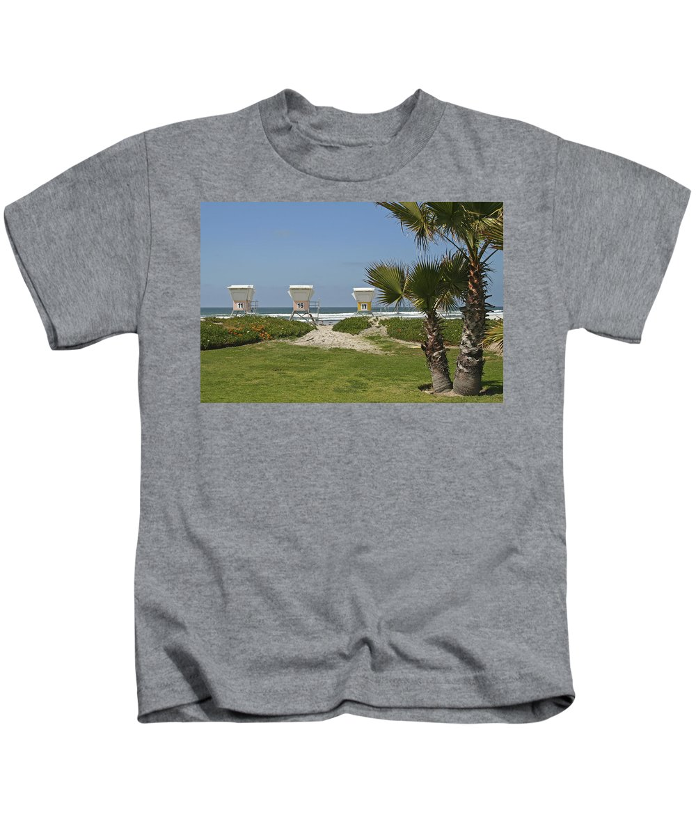 Beach Kids T-Shirt featuring the photograph Mission Beach Shelters by Margie Wildblood