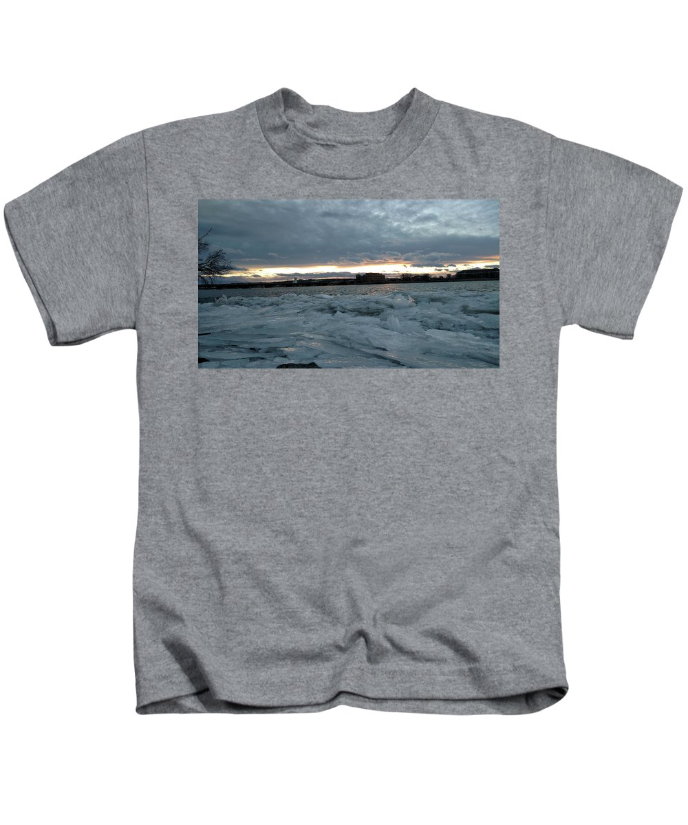 Snow Kids T-Shirt featuring the photograph Missouri River Ice Sheet Sunset by Tiffani Burkett
