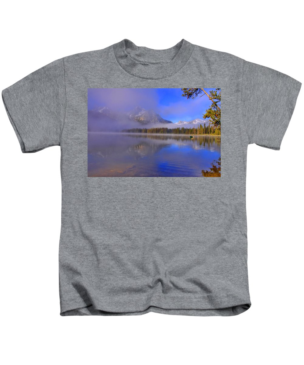 Lake Kids T-Shirt featuring the photograph Misty Morning On A Canoe by Scott Mahon