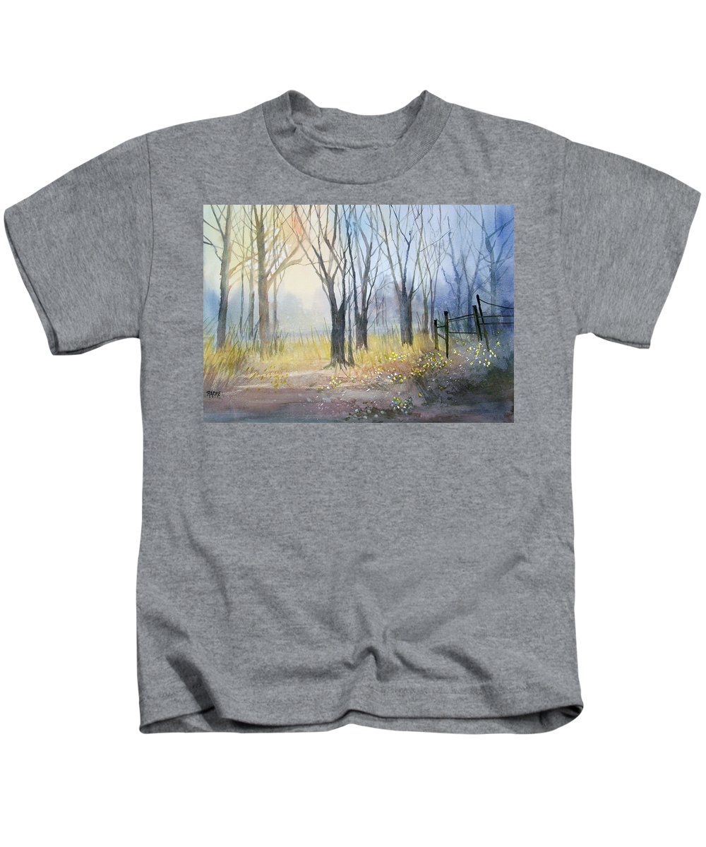 Watercolor Kids T-Shirt featuring the painting Misty Morning by Ryan Radke
