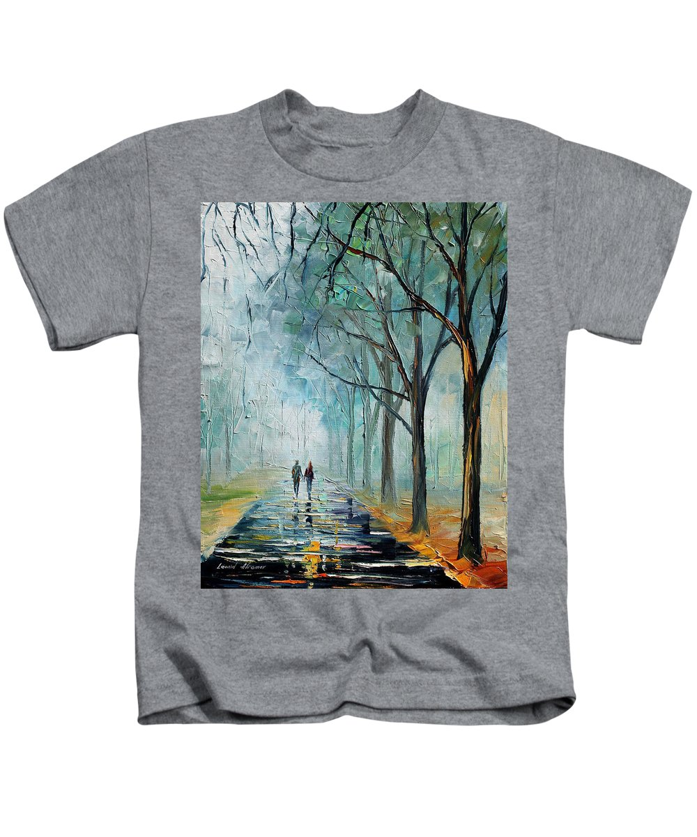 Afremov Kids T-Shirt featuring the painting Misty Stroll by Leonid Afremov