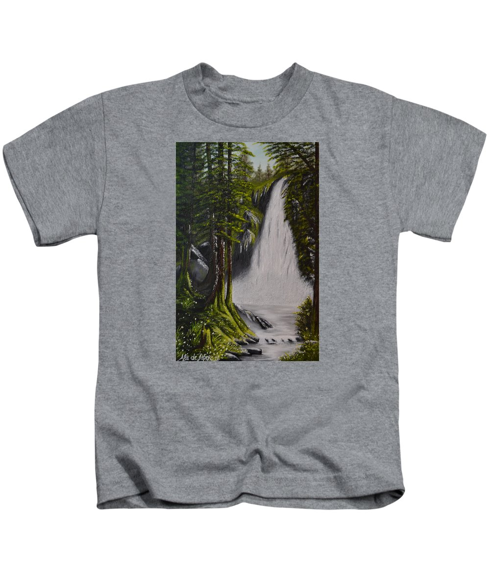 Oil Painting Kids T-Shirt featuring the painting Misty Waterfall by Alta De Jager