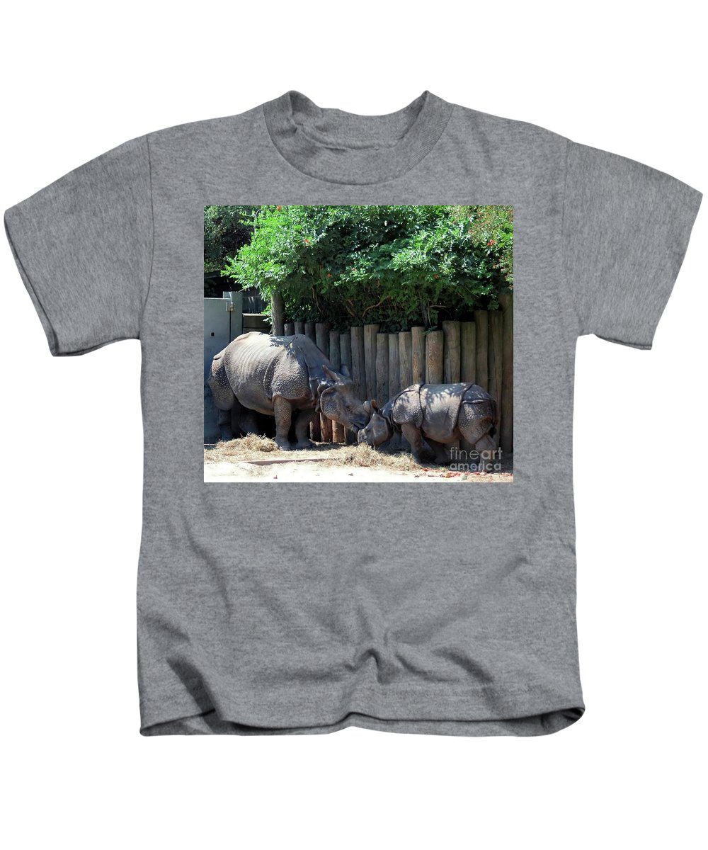 Rhinoceros Kids T-Shirt featuring the photograph Mom Kissing Baby by Kathleen Struckle