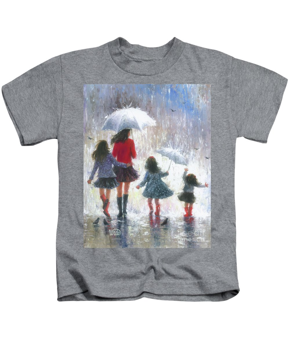Mom Kids T-Shirt featuring the painting Mom Three Daughters Rain by Vickie Wade