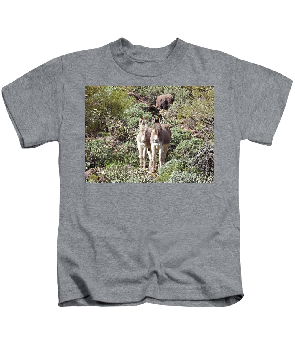 Wild Burros Kids T-Shirt featuring the photograph Mommy And Baby Burro by Sandra O'Toole