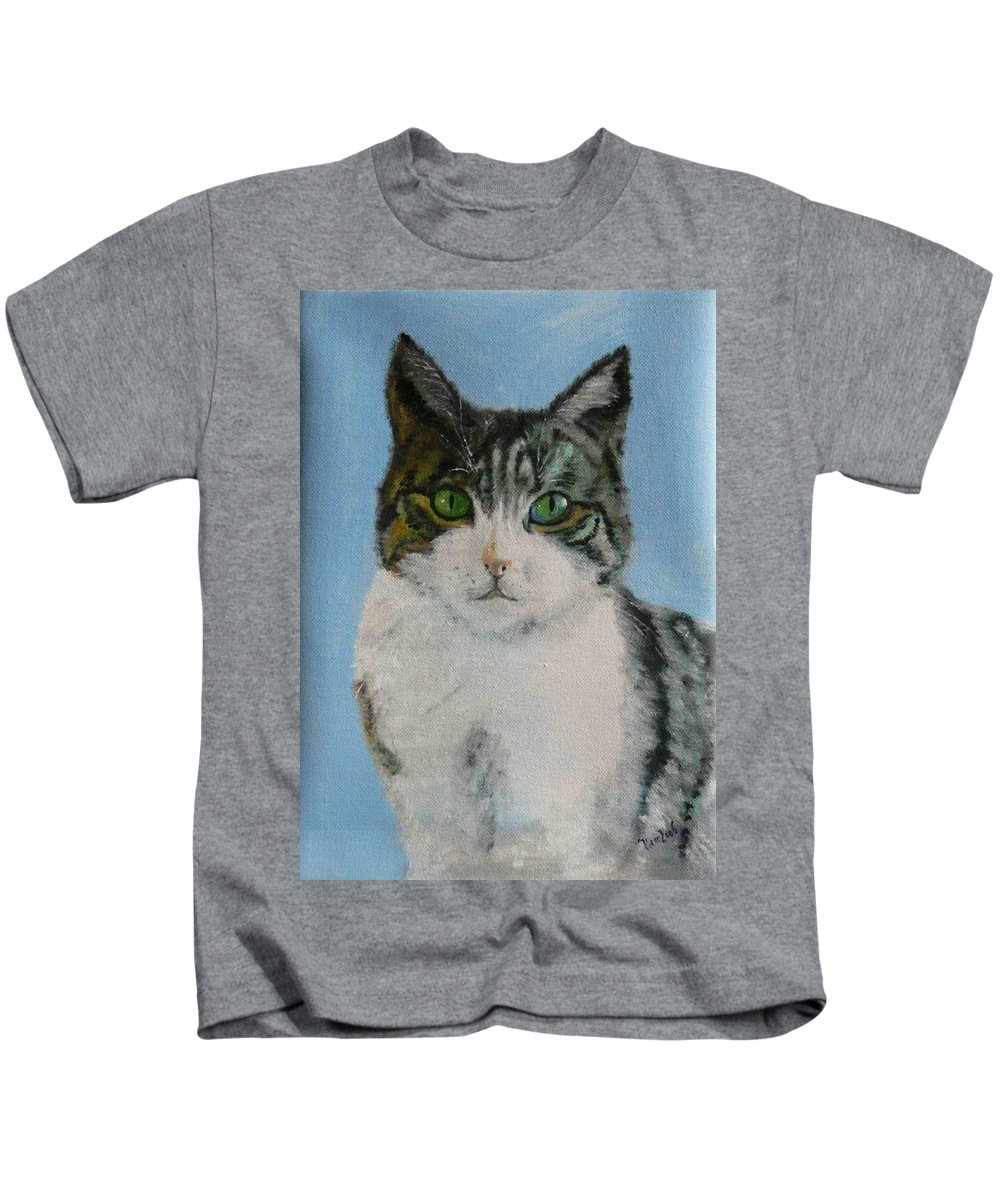 Tomcat Kids T-Shirt featuring the painting Momo by Helmut Rottler