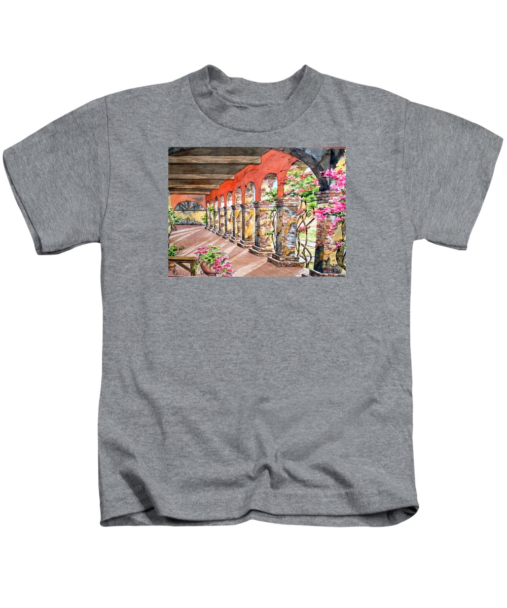 Landscape Kids T-Shirt featuring the painting Monasterio by Tatiana Escobar