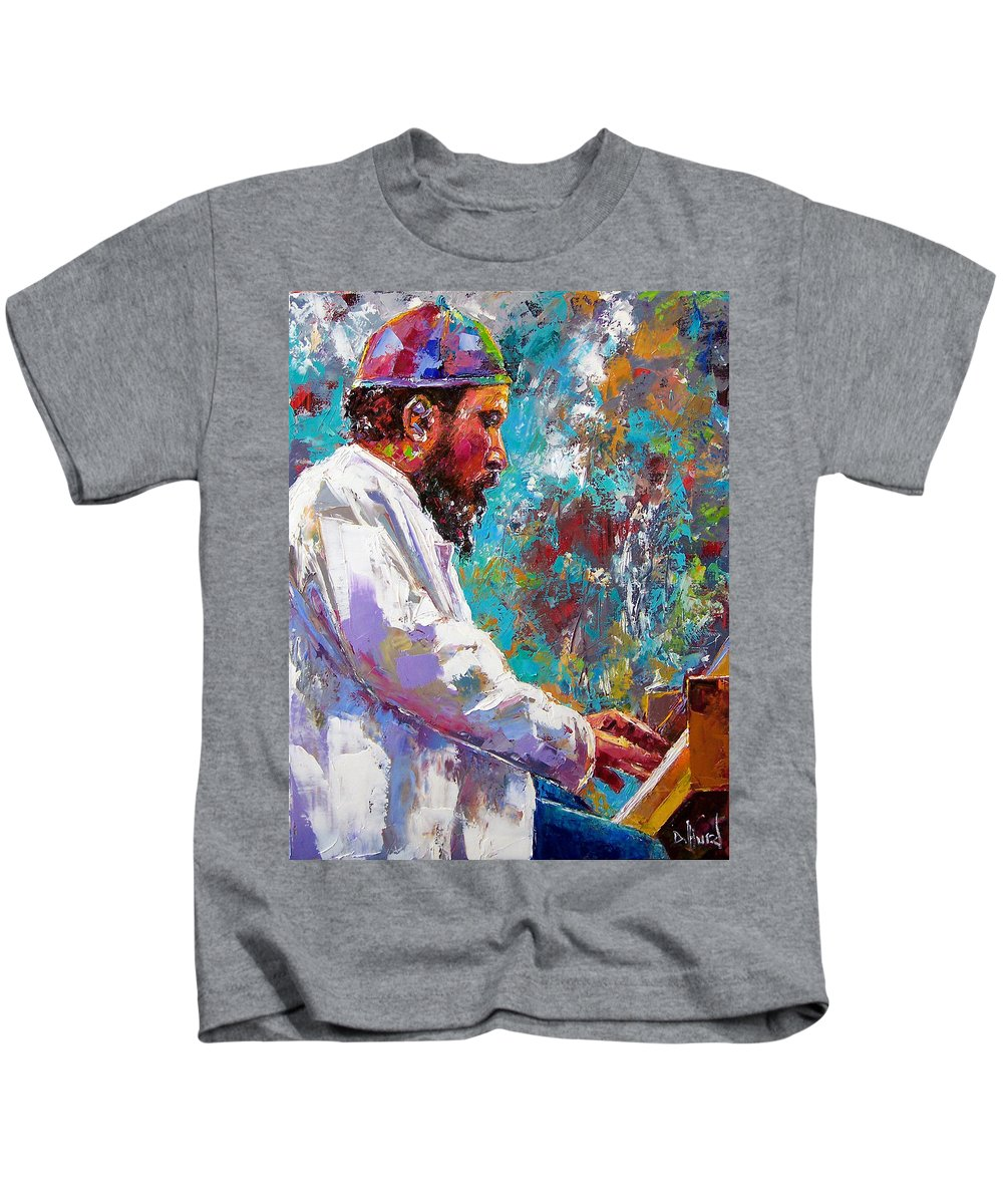 Thelonious Monk Art Kids T-Shirt featuring the painting Monk Live by Debra Hurd