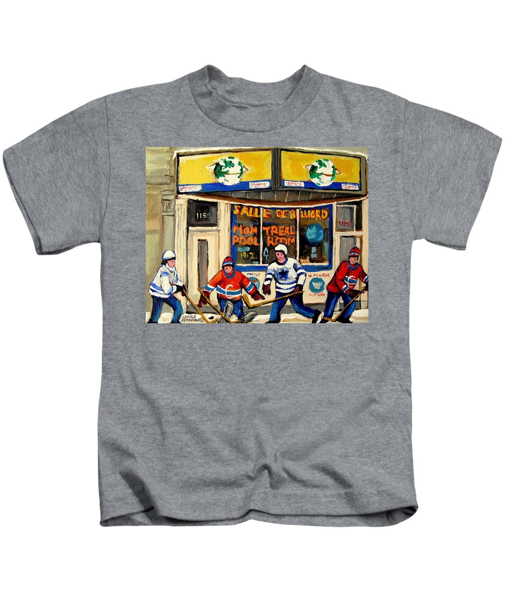 Montreal Kids T-Shirt featuring the painting Montreal Poolroom Hockey Fans by Carole Spandau