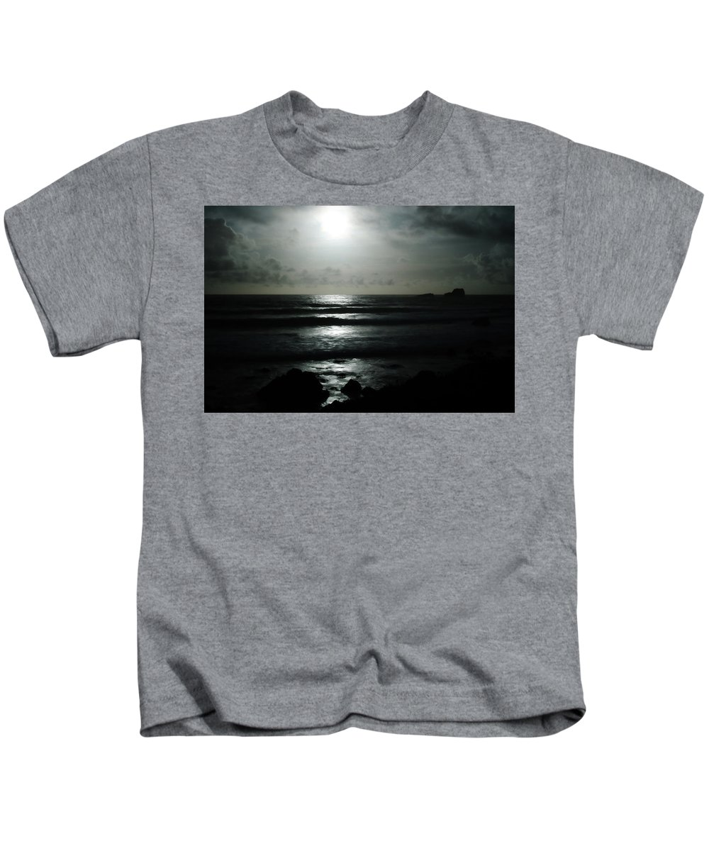 Black And White Kids T-Shirt featuring the photograph Moody Coast by Erin Donalson