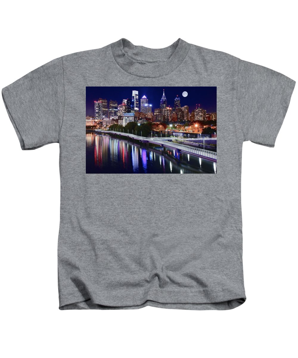 Philadelphia Kids T-Shirt featuring the photograph Moon Over Philly by Skyline Photos of America