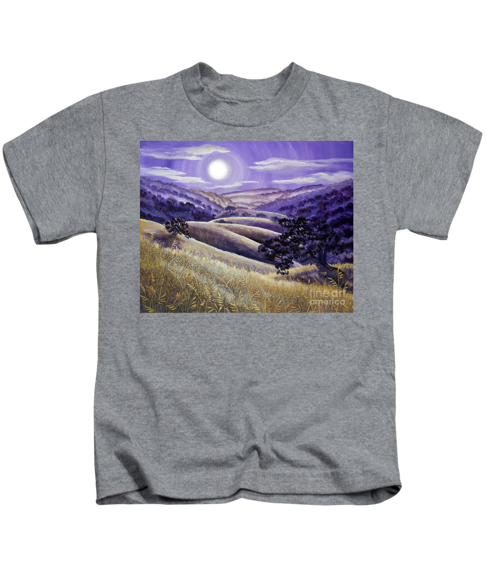 Landscape Kids T-Shirt featuring the painting Moonrise Over Monte Bello by Laura Iverson