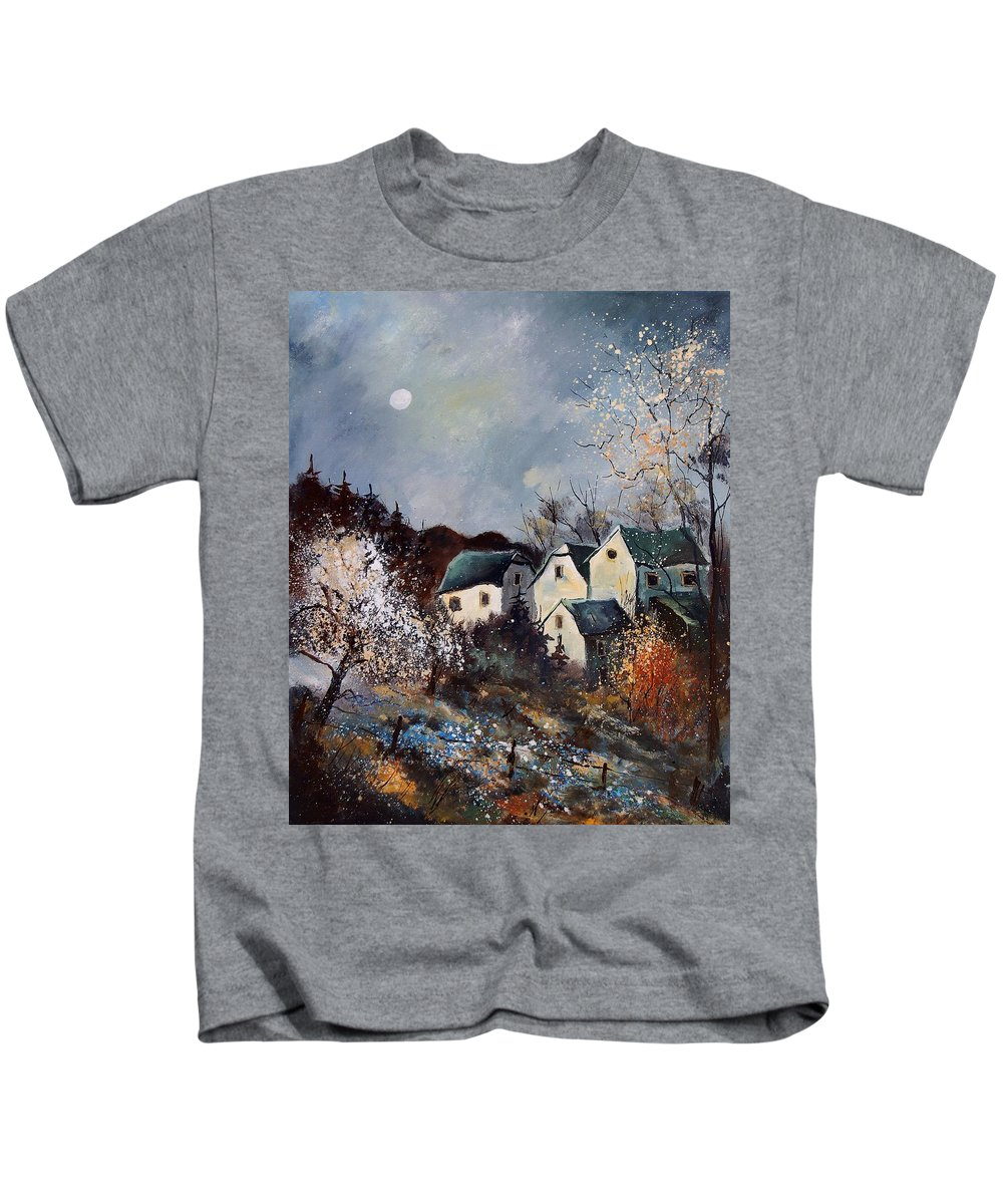 Village Kids T-Shirt featuring the painting Moonshine by Pol Ledent