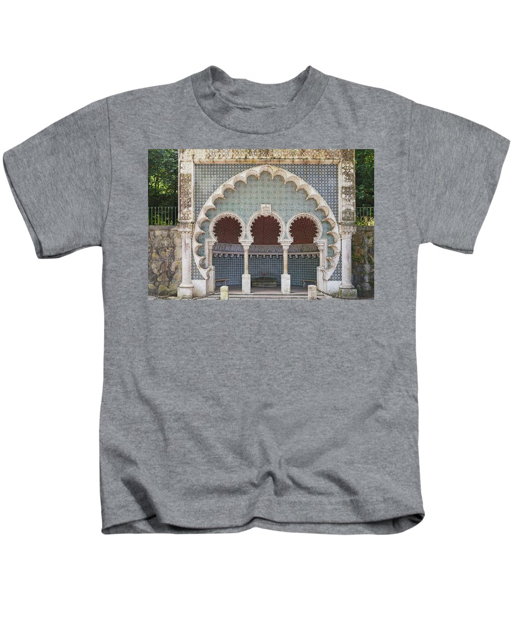 Ancient Kids T-Shirt featuring the photograph Moorish Fountain Of Sintra by Moura Pereira