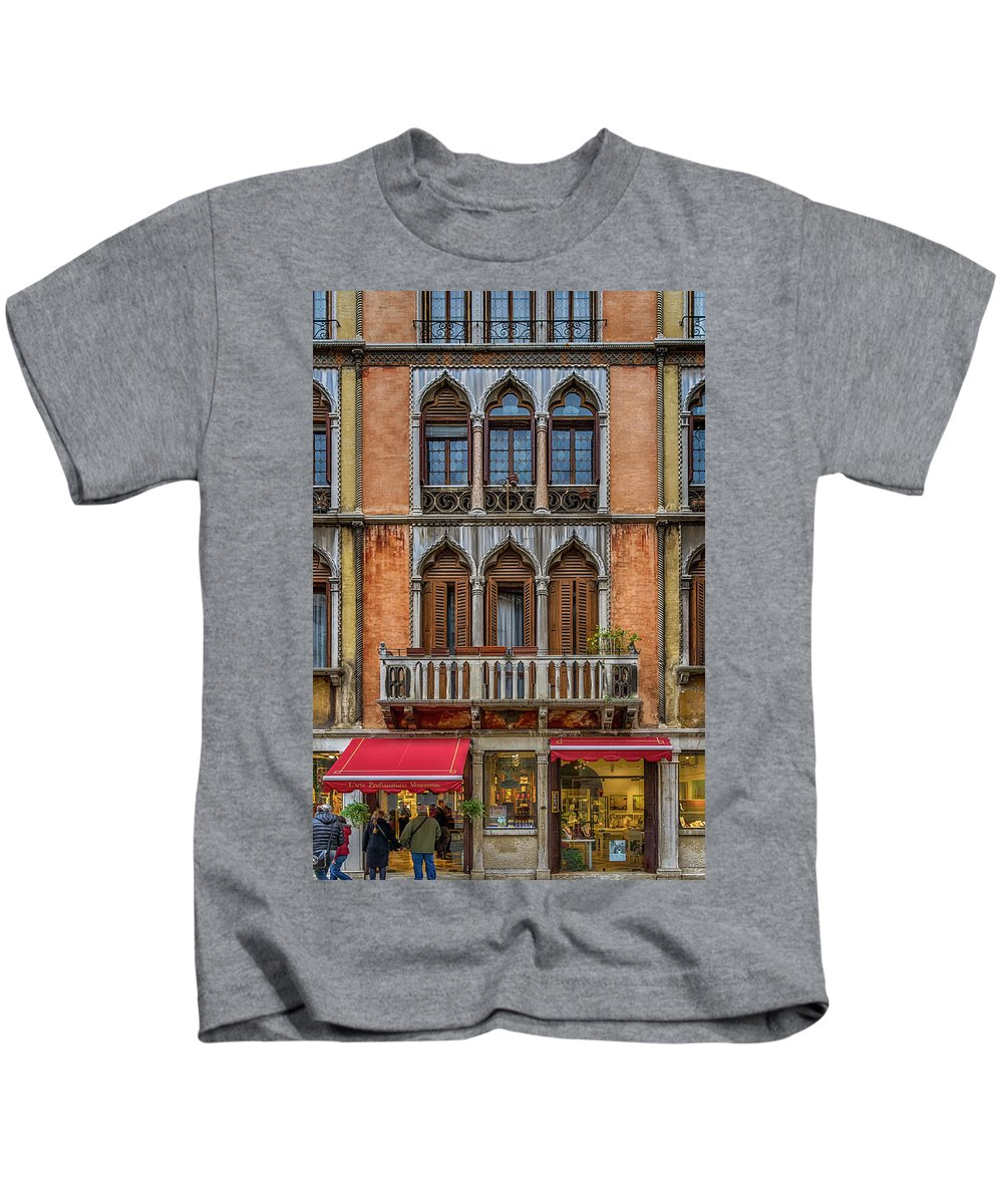 Europe Kids T-Shirt featuring the photograph Moorish Style Windows Venice_dsc1450_02282017 by Greg Kluempers