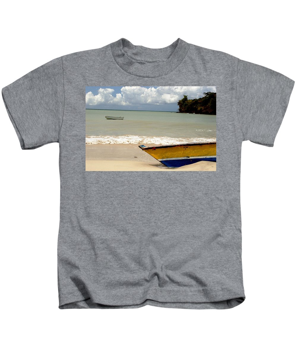 Boat Kids T-Shirt featuring the photograph Morne Rouge Boats by Jean Macaluso