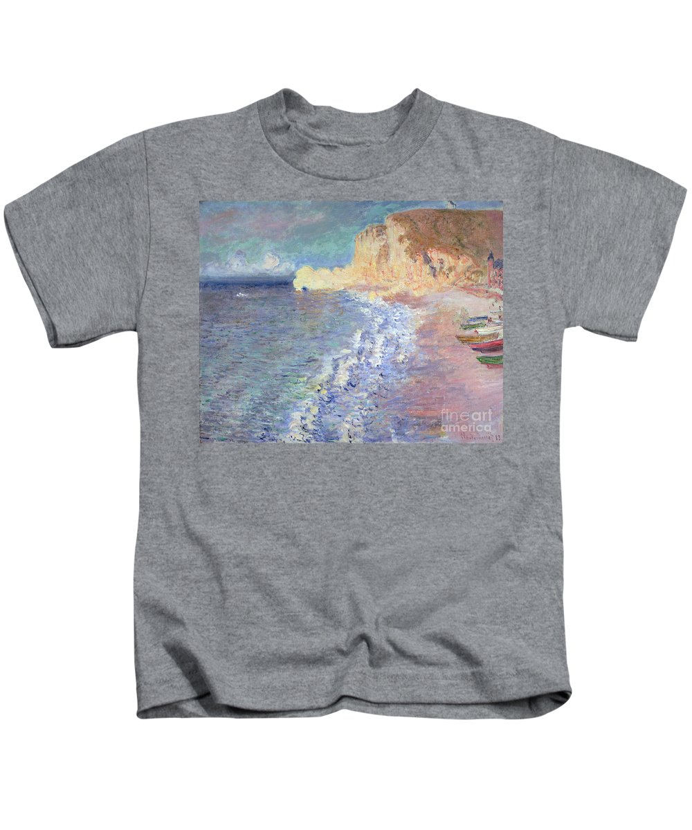Morning Kids T-Shirt featuring the painting Morning At Etretat by Claude Monet