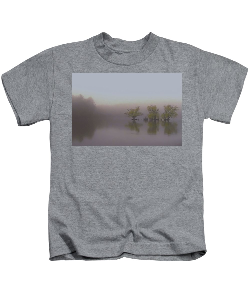 Horn Pond Kids T-Shirt featuring the photograph Morning Fog by Jeff Heimlich
