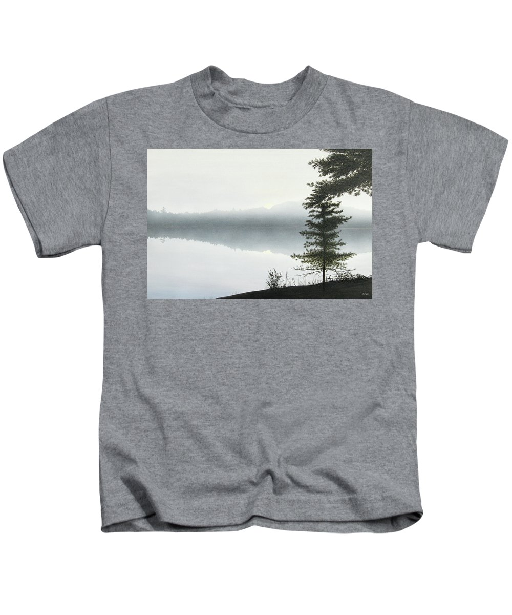 Landscapes Kids T-Shirt featuring the painting Morning Fog by Kenneth M Kirsch