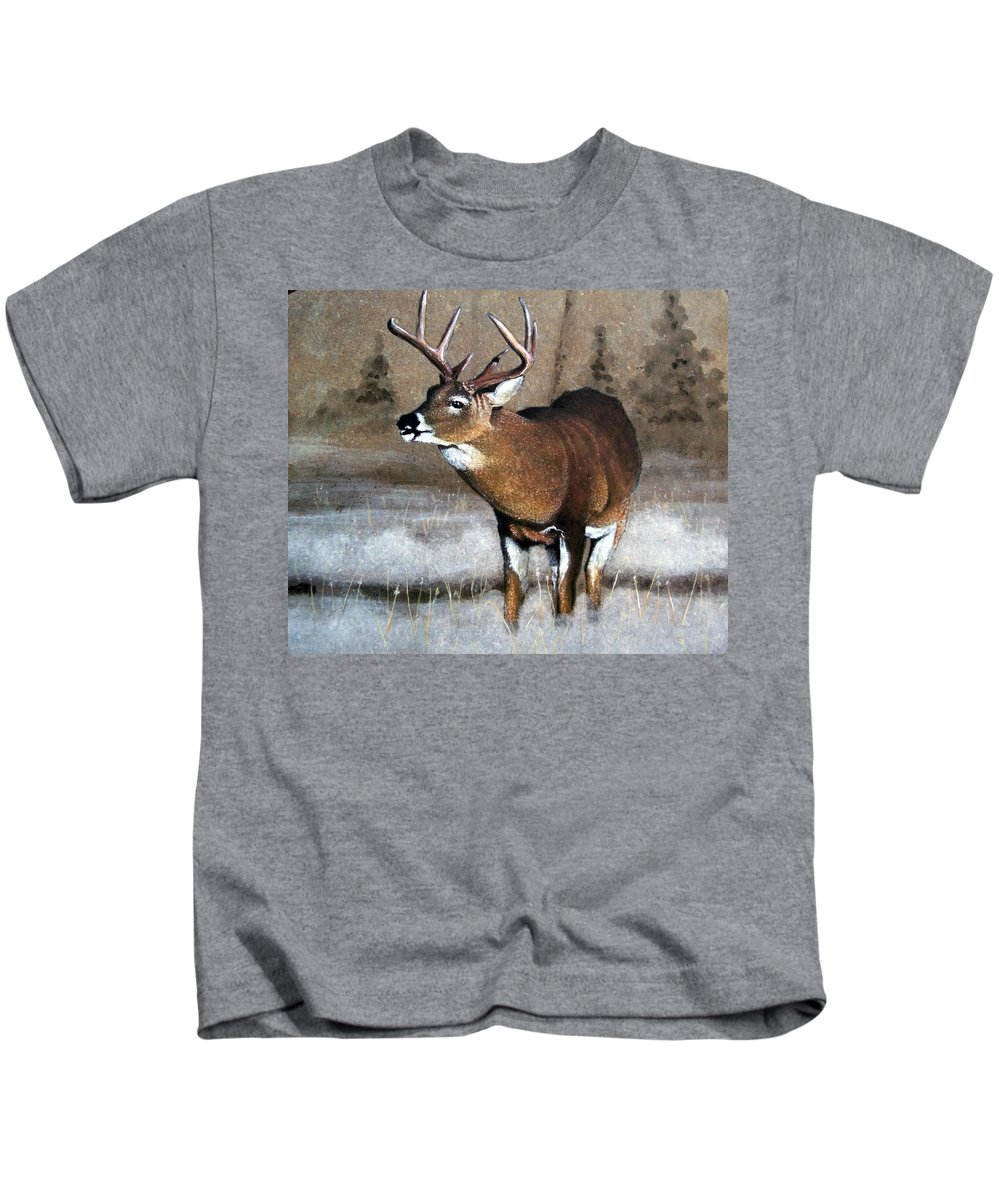 Animal Kids T-Shirt featuring the painting Morning Fog by Stan White