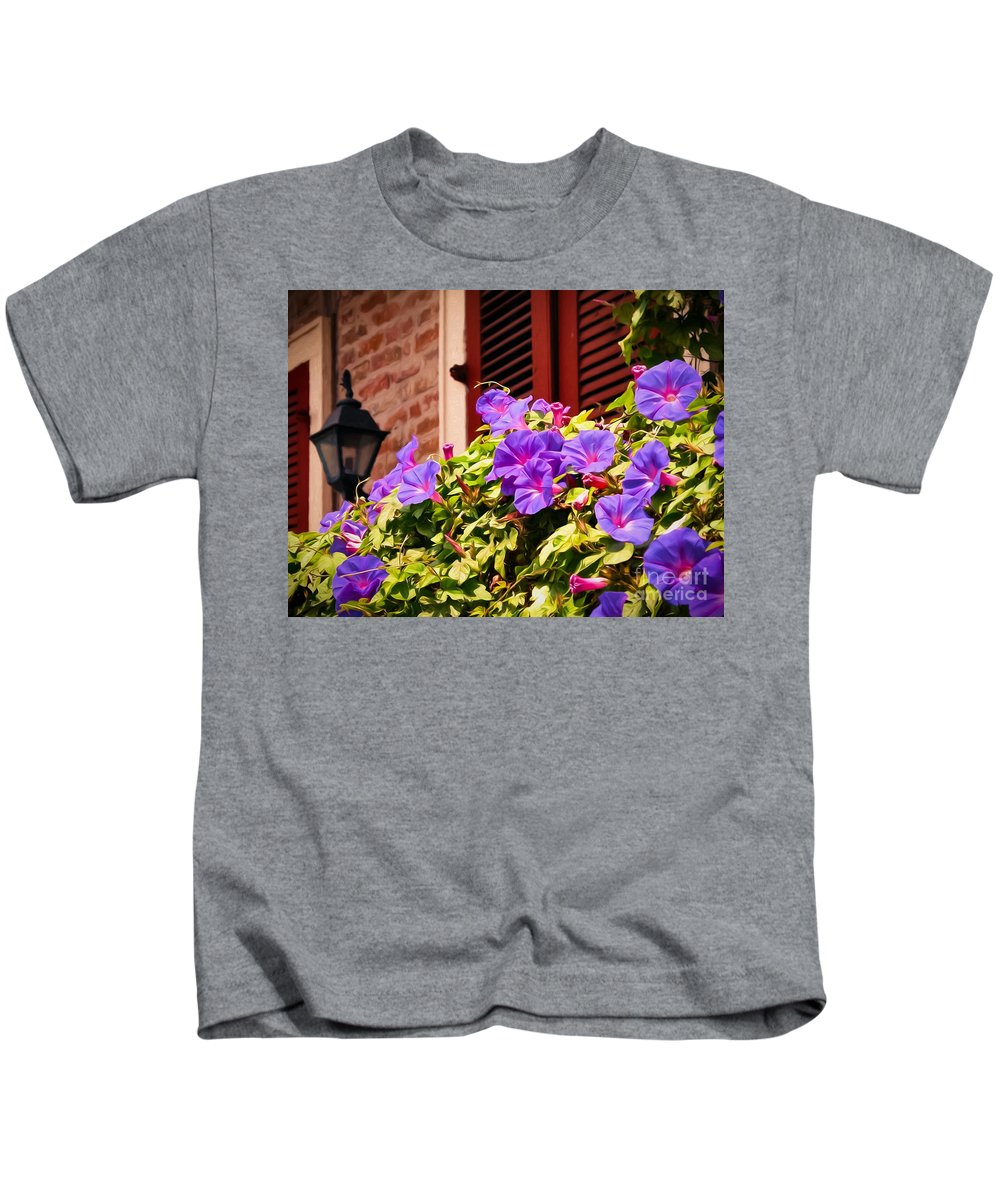 Shutter Kids T-Shirt featuring the photograph Morning Glories In Nola by Kathleen K Parker