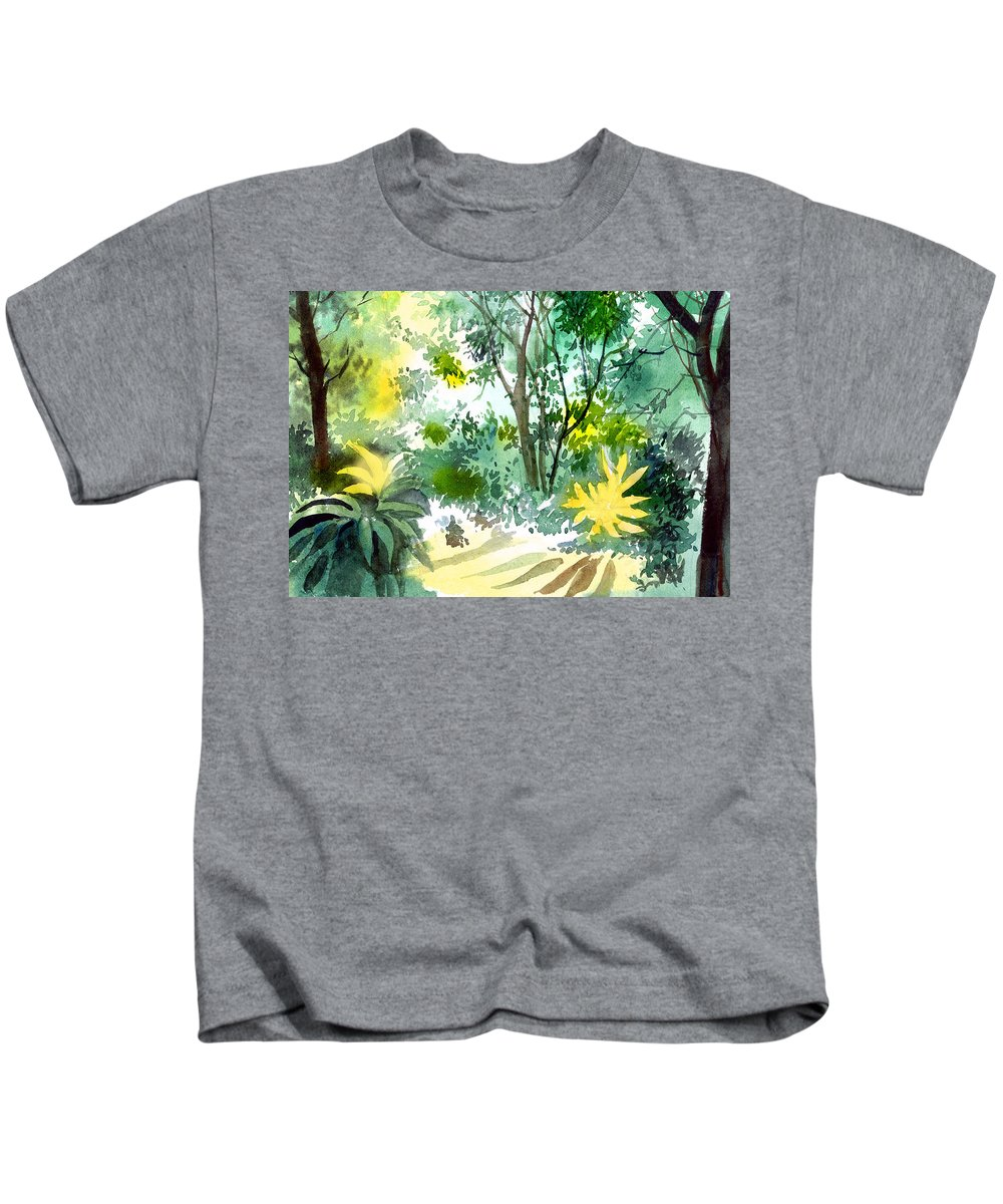 Landscape Kids T-Shirt featuring the painting Morning Glory by Anil Nene