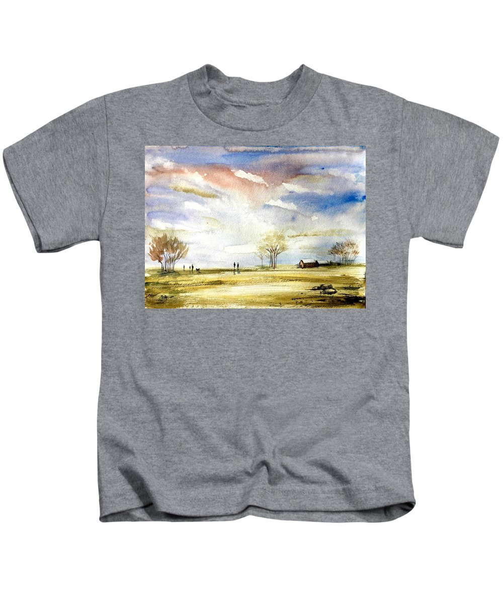 Landscape Kids T-Shirt featuring the painting Morning by Katerina Kovatcheva