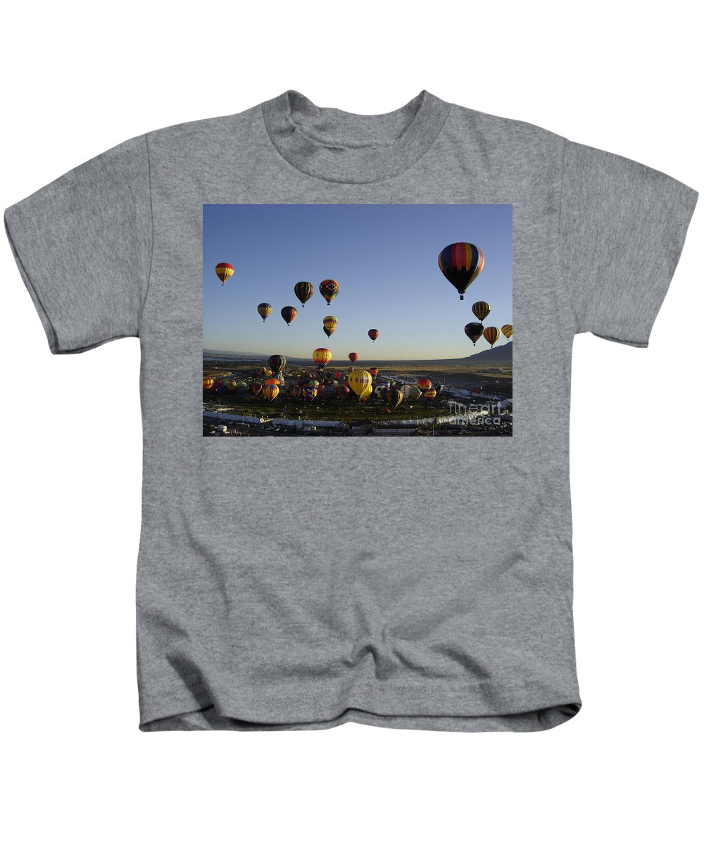 Hot Air Balloons Kids T-Shirt featuring the photograph Morning Liftoff by Mary Rogers