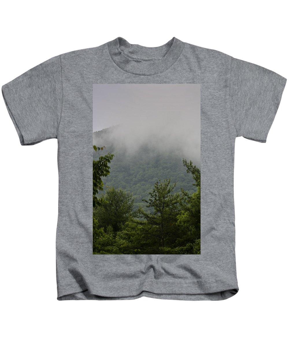 Bluestone Kids T-Shirt featuring the photograph Morning Mist Bluestone State Park West Virginia by Teresa Mucha