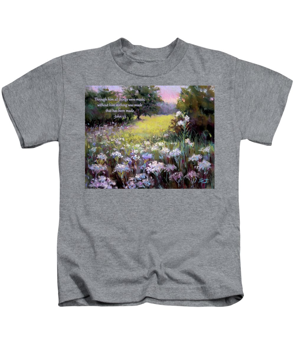 Meadow Kids T-Shirt featuring the painting Morning Praises With Bible Verse by Susan Jenkins
