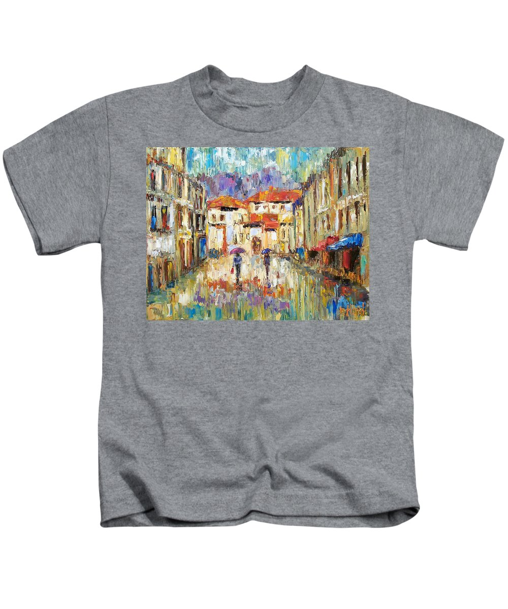 Landscape Kids T-Shirt featuring the painting Morning Rain by Debra Hurd