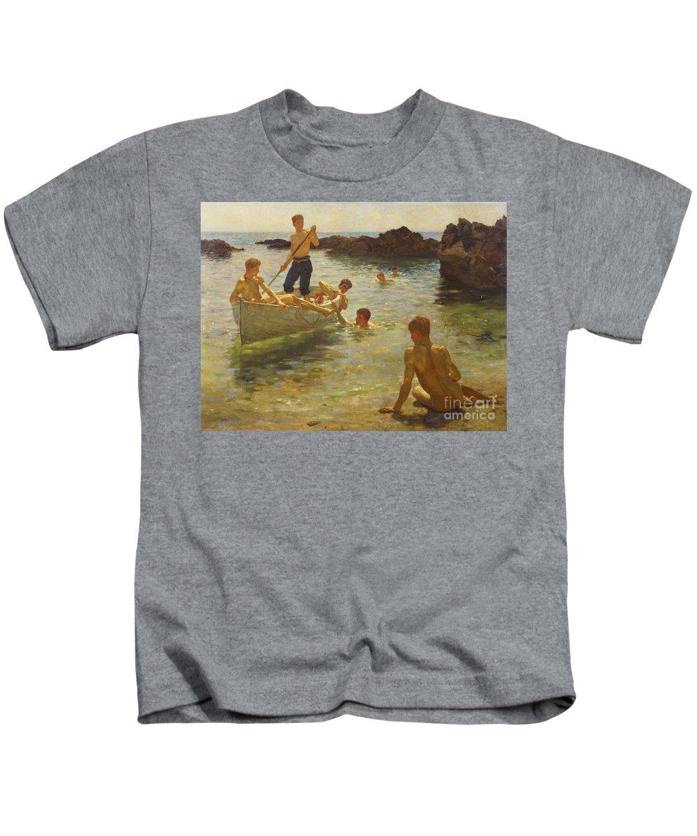 Swimming Kids T-Shirt featuring the painting Morning Splendour by Henry Scott Tuke