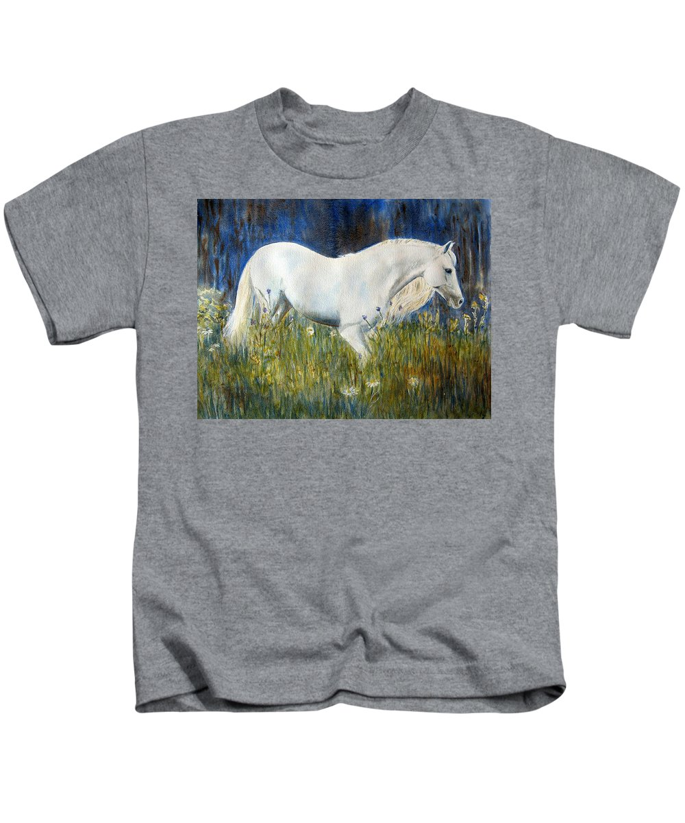 Horse Painting Kids T-Shirt featuring the painting Morning Walk by Frances Gillotti