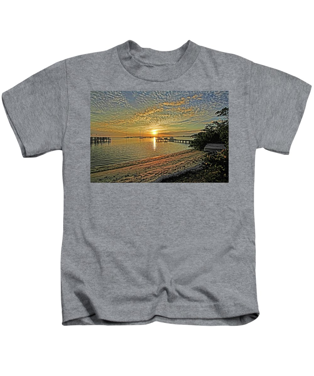 Longboat Key Florida Kids T-Shirt featuring the photograph Mornings Embrace by HH Photography of Florida