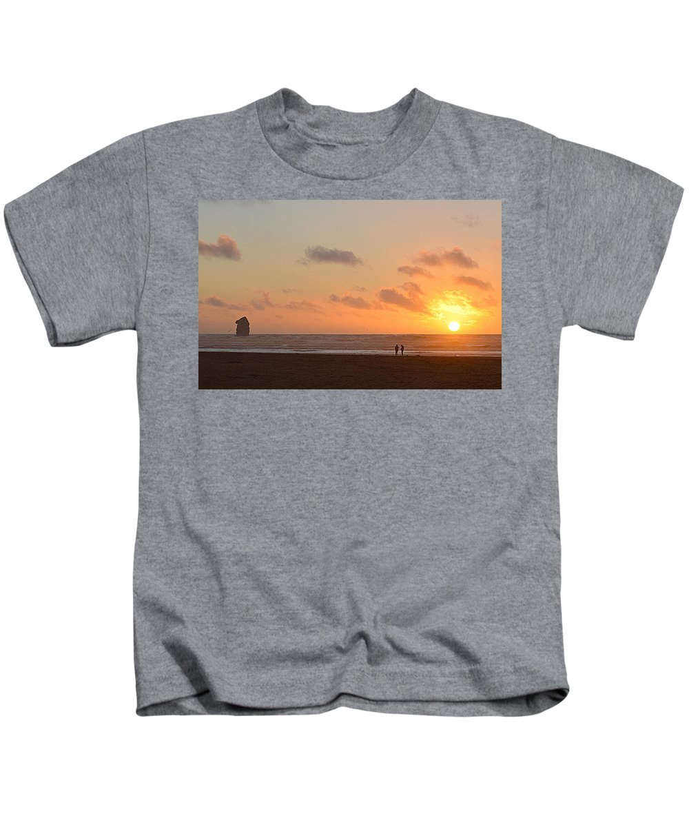 Scenic Kids T-Shirt featuring the photograph Morro Sunset by AJ Schibig