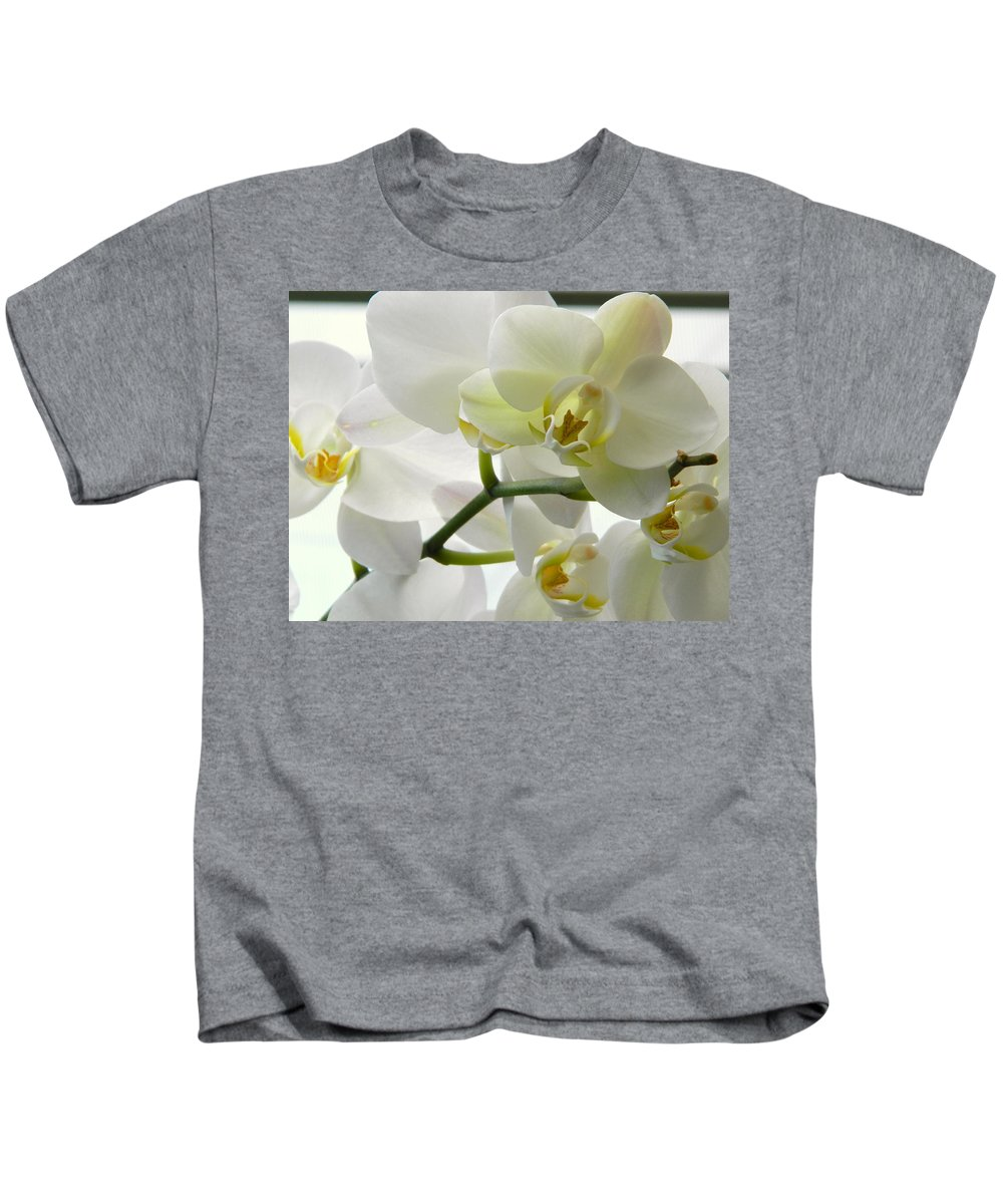 White Kids T-Shirt featuring the photograph Moth Orchids - White by Arlane Crump