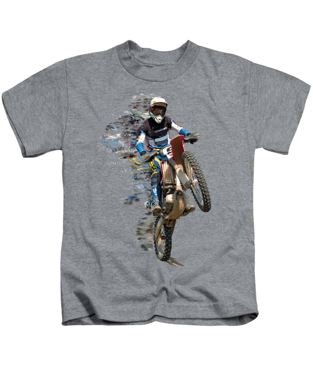 Motocross Kids T-Shirt featuring the painting Motocross Rider With Flying Pieces by Elaine Plesser