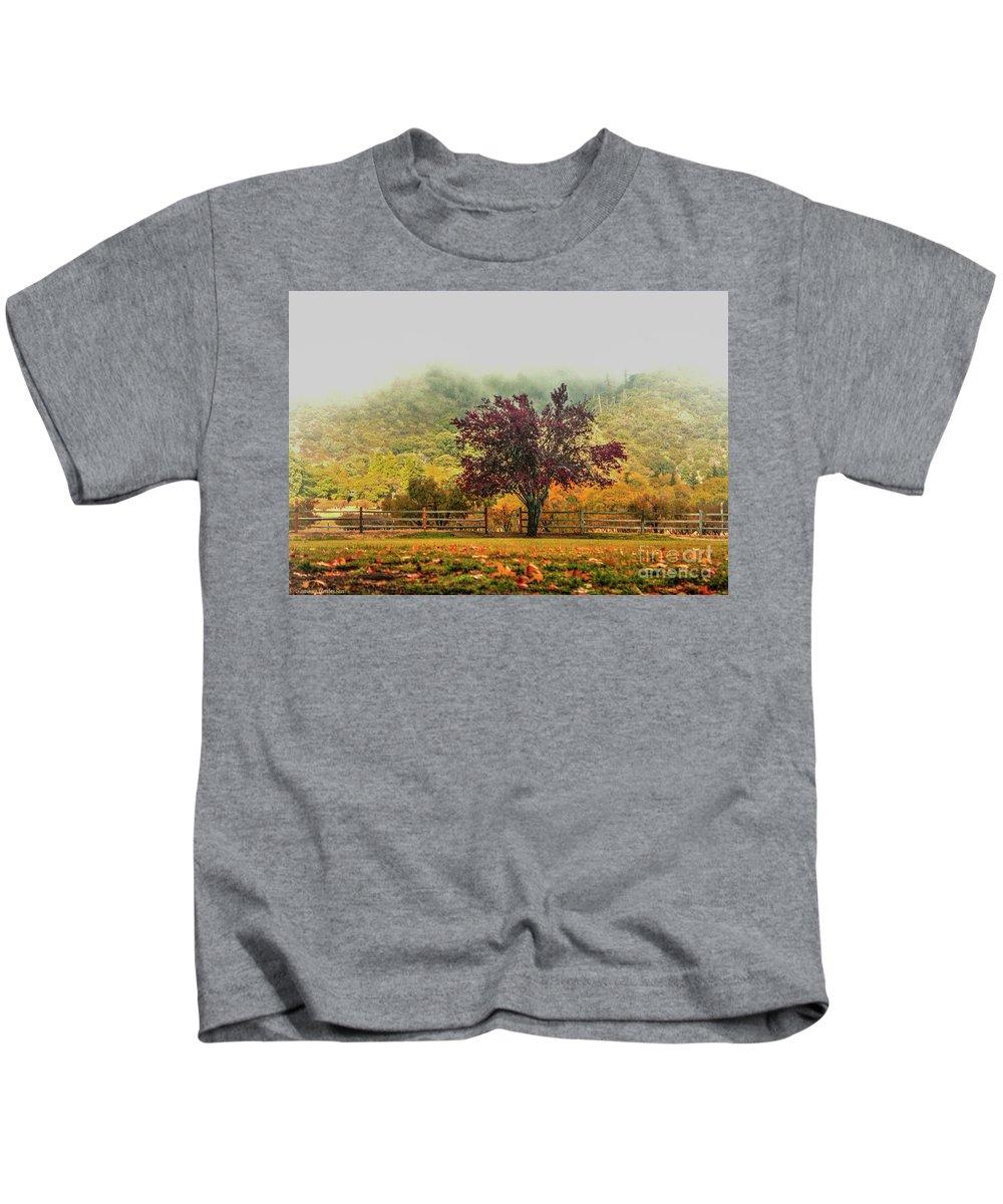 Oak Glen Kids T-Shirt featuring the photograph Mountain Haze In A Oak Glen Autumn by Tommy Anderson