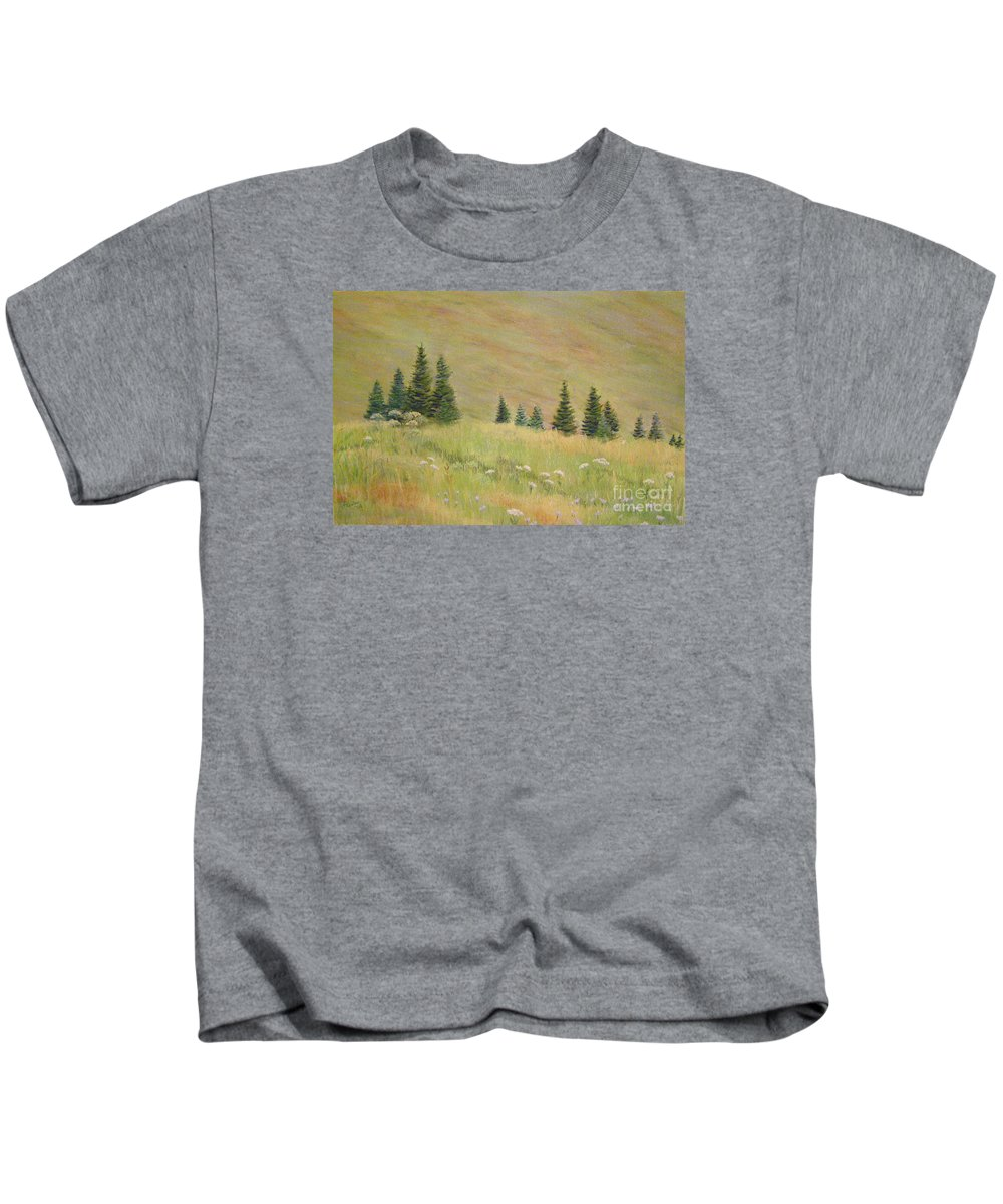 Landscape Kids T-Shirt featuring the painting Mountain Meadow by Lynn Quinn
