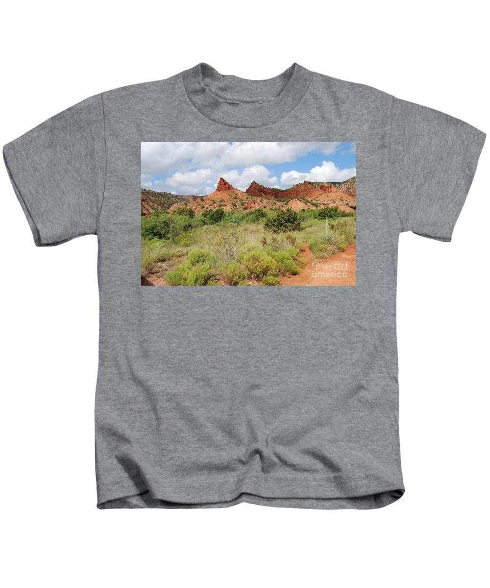 Mountain Peaks At Caprock Prints Kids T-Shirt featuring the photograph Mountain Peaks At Caprock by Ruth Housley