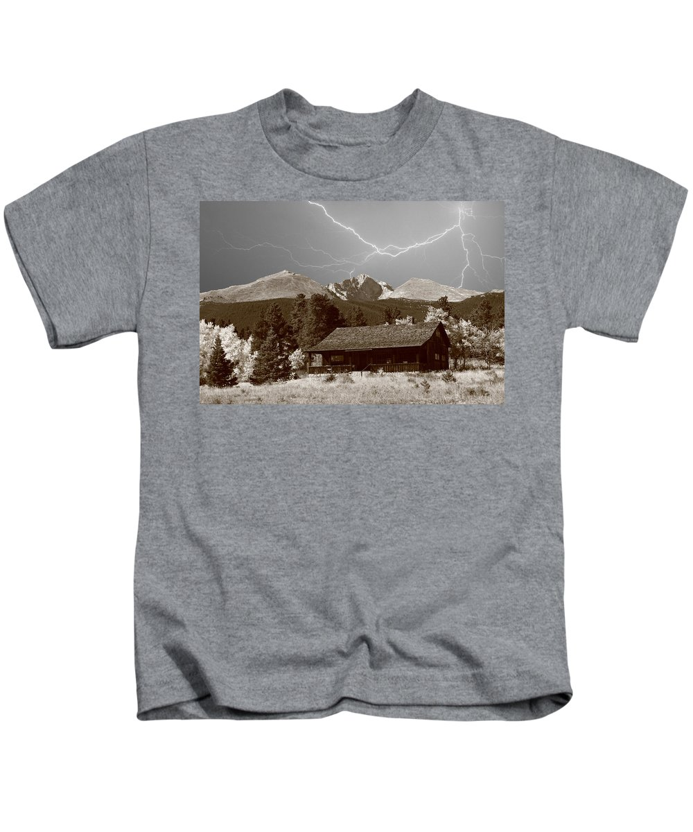 Lightning Kids T-Shirt featuring the photograph Mountains Cabin - Lightning - Longs Peak by James BO Insogna