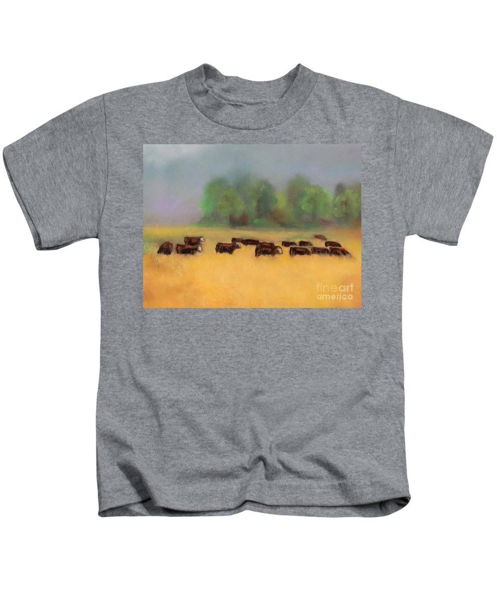 Cattle Kids T-Shirt featuring the painting Moving On by Frances Marino