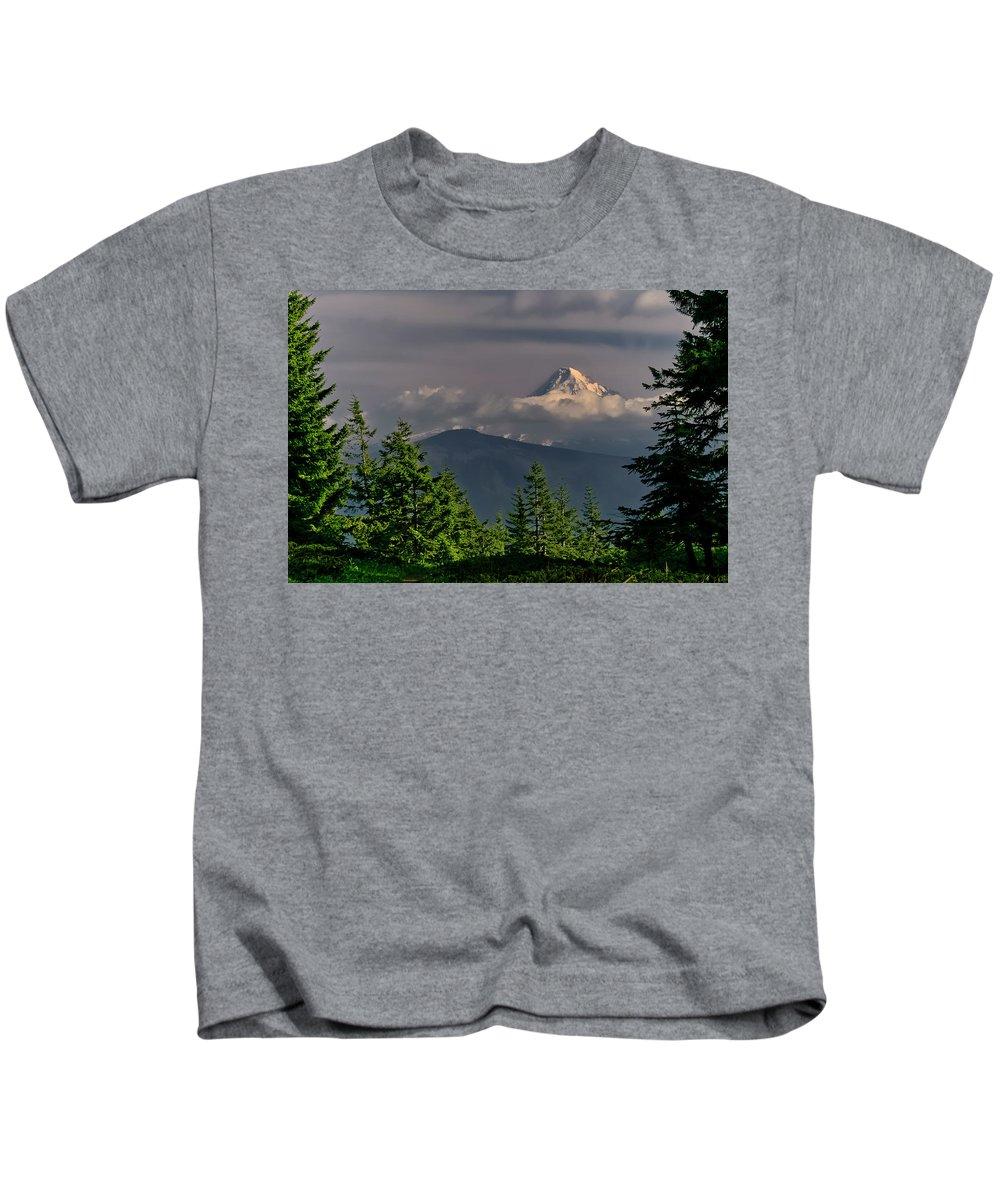 Mt Hood Kids T-Shirt featuring the photograph Mt Hood From Grassy Knoll by Albert Seger