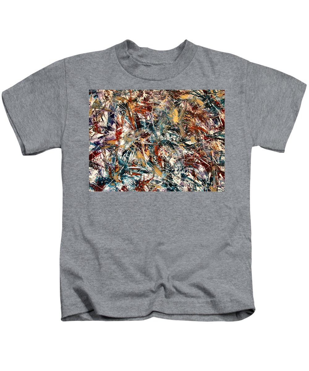 Abstract Kids T-Shirt featuring the painting Muisic And Rhythm by Guillermo Mason
