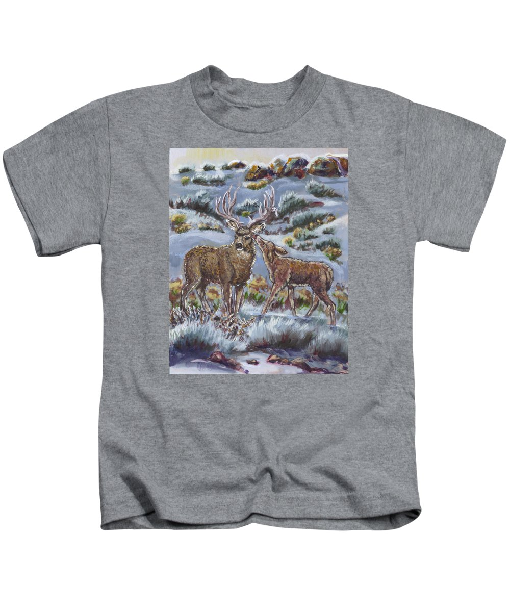 Animals Kids T-Shirt featuring the painting Mule Deer Lovers From River Mural by Dawn Senior-Trask