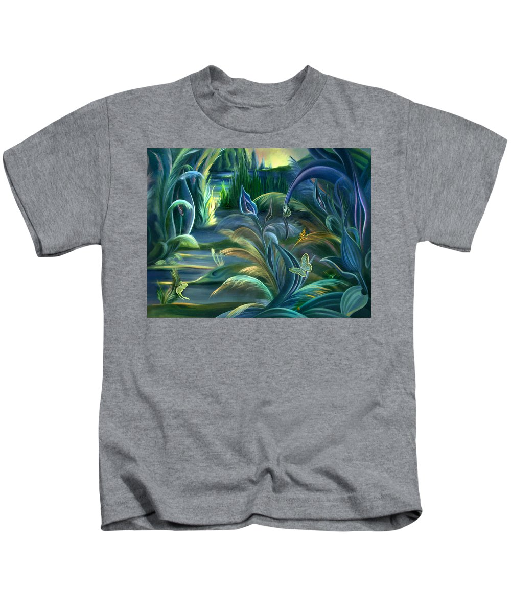 Mural Kids T-Shirt featuring the painting Mural Insects Of Enchanted Stream by Nancy Griswold